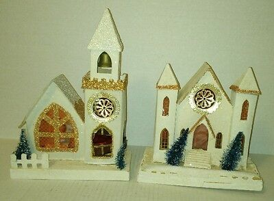 "vtg large matching set of 2 CHRISTMAS House & Church JAPAN PUTZ over 10"" tall"