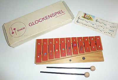 Vintage Sonor Glockenspiel Xylophone Wooden Mallets W. Germany Original Box