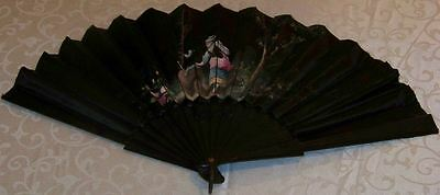 Antique Hand Painted Black Satin Fan w Carved Ebony Sticks