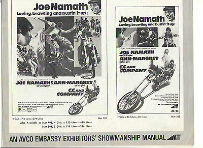 C.c. And Company Ann Margret Joe Namanth Motorcycle Racing Vintage Org Pressbook