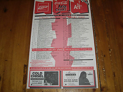Cold Chisel / Marcia Hines - 23 Oct 1994 - Australian Aria Chart  As New