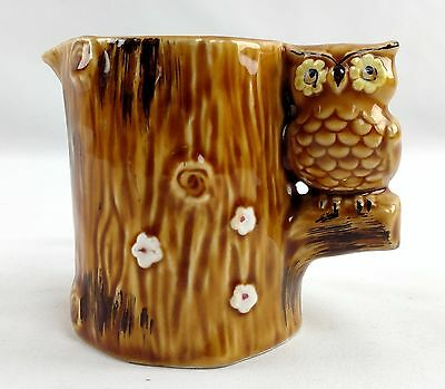 Vintage Ceramic Lego Brand Perched Owl Creamer/Milk Cup Serving Brown