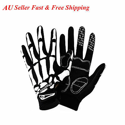 New Bike Motorcycle Racing Cycling Skeleton Bone Mechanics Full Finger Gloves AU