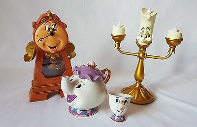 New Beauty And The Beast Set of Cogsworth Clock Lumiere Figurine Mrs Potts Chip