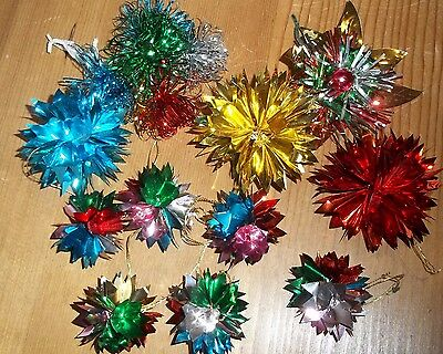 Christmas in July Vintage Foil and plastic Xmas Tree Decorations Job Lot 16 Pc