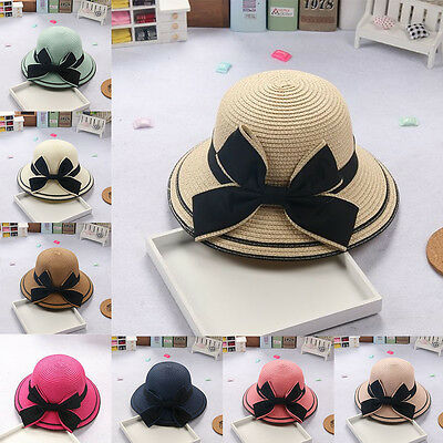 Flower Party Cap Princess New Straw Hat Summer Beach Bow Girl Baby