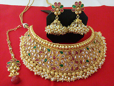 Indian fashion jewelry Bridal Necklace bollywood traditional Gold Plated Set