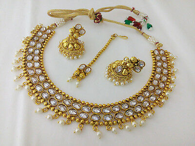 New Indian Fashion Jewelry Necklace Earring Bollywood Ethnic Gold Plated Set