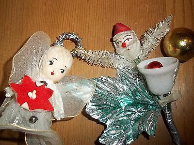Christmas in July Vintage Kitsch Santa & Angel Glass Pipecleaner Glitter x 2