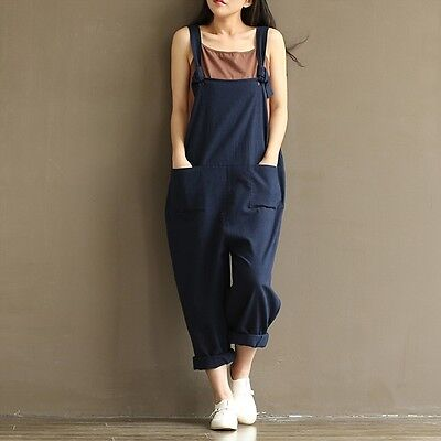 Fashion Womens Loose Jumpsuit Strap Dungaree Harem Trousers Casual Overall Pants
