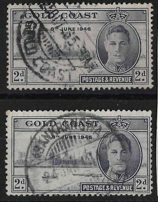 r165) Gold Coast. 1946. Used. SG 133,133a 2d. Victory. Omnibus Issue.