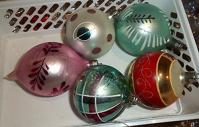 Traditional Christmas Large Retro Mercury Glass Tree Decorations Ornaments  x 5