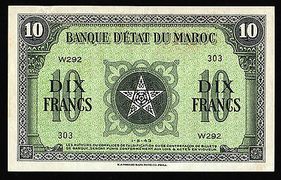 Maroc Rare Bank Notes : French Morocco 10 Francs 1943 Paper Money Nice Bill