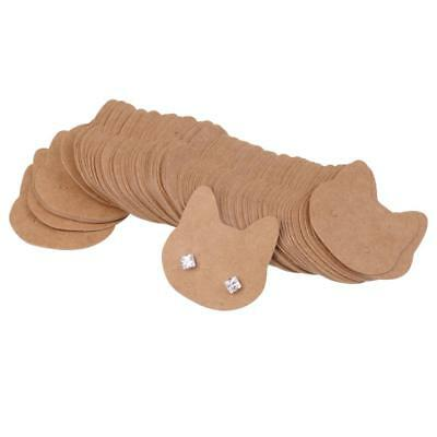 100pcs Kraft Paper Recycled Earrings Display Cards Gift Tags - Lovely Cat