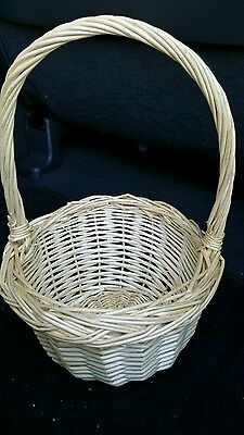 Wicker flower girl basket wedding Easter vintage rustic shabby chic decor