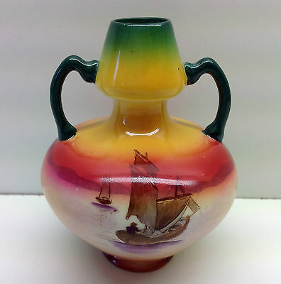 "Wileman Twin Handled ""Delphic Yachting Scenes"" Pattern Miniature Vase."