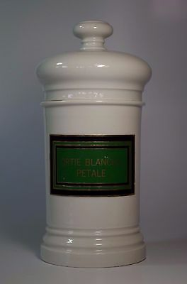 Antique Porcelain Pharmacy Apothecary Chemist Lidded Jar Ortie Blanche Petale