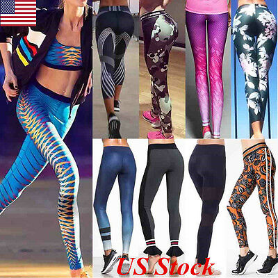 Women High Waist Yoga Fitness Leggings Running Gym Sports Pants Workout Trousers