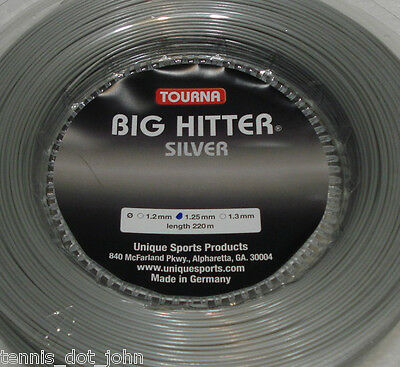 Tourna Big Hitter Silver 220m Reel Tennis String - Gauge 1.25mm