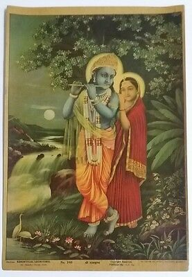Indian Vintage Mythological Hindu Gods  Print- Radhakrishna/size-10X14 Inch/1930