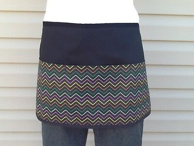Black 3 pocket Chevron waitress waist Half apron  Server resturants Classyaprons