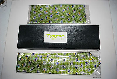 ZYRTEC 1990's Promotional Tie and Hankie/Scarf 100% Silk Gift Set Mint In Box