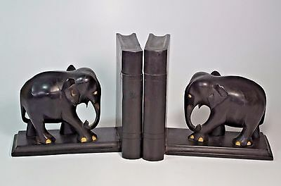 Antique Hand Carved Ebony Elephant Bookends Secret Storage Place