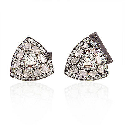 2.51ct Natural Diamond Triangle Shape Cufflinks 925 Sterling Silver Gift Jewelry
