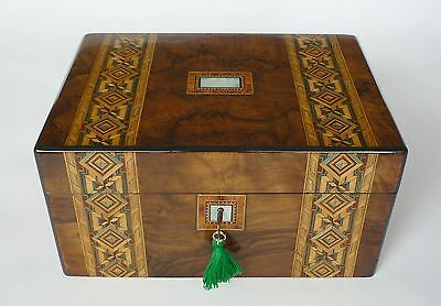 Antique Banded Parquetry, Figured Walnut & Mother of Pearl Jewellery Box