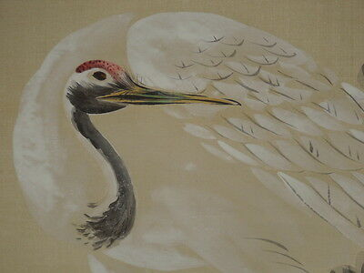 Japan Painting Japanese Hanging Scroll Crane Picture Plum Asian art Big Silk q47