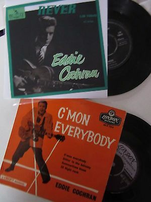 "45RPM EDDIE COCHRAN  ""NEVER""  UK  7""(Lot of 2)"