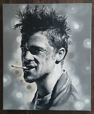 brad pitt portrait original acryl auf leinwand kunst art gem lde eur 349 00 picclick de. Black Bedroom Furniture Sets. Home Design Ideas