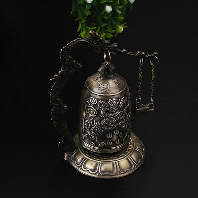 Lucky China Buddhism Temple Brass Copper Carved Statue Lotus Dragon Bell Clock