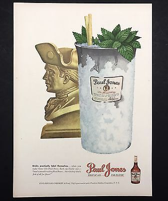 1948 Vintage Print Ad | 1940s PAUL JONES Whiskey Alcohol Drink