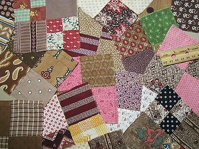 Antique Quilt Blocks Great Early fabrics Hand sewn 29pcs 4 1/2""