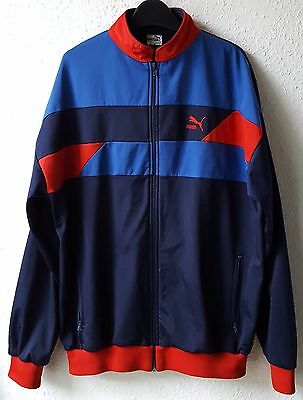 Old Vintage Puma Men's Blue Red Track Top Retro Tracksuit Jacket Medium Large