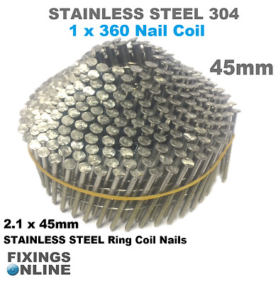 45mm - STAINLESS STEEL 304  2.1g x 45mm ( 360 conical nails ), Hitachi, Max, BEA