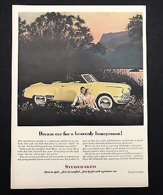 1948 Vintage Print Ad | 1940s STUDEBAKER Car Parked In Field Sunset Automobile