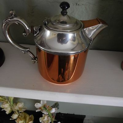 Antique Manning Bowman & Co. Copper And Silver Tea Pot Dated 1899
