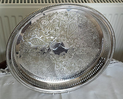 """Vintage silver plated 13"""" round gallery tray with ornate engraved pattern c1970s"""