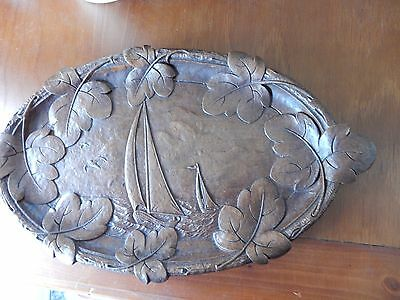 VINTAGE carved WOOD nautical SHIP sailboat leaved oval display serving composite