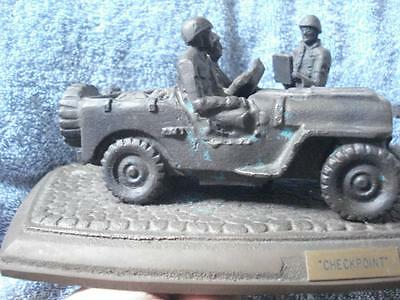 """Very Rare Vintage/Antique Wwii Cast Iron Sculpture """"Checkpoint"""""""
