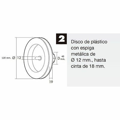 Disco Persiana Plástico Espiga Metal 120x40 mm. Cinta 18 mm.