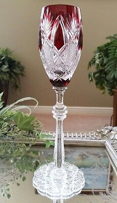 FABERGE Imperial CZAR Ruby Red Cut to Clear Crystal Sherry Wine Goblet SIGNED!