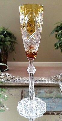 FABERGE Imperial CZAR Yellow Gold Cut to Clear Crystal Liqueur Cordial, SIGNED!