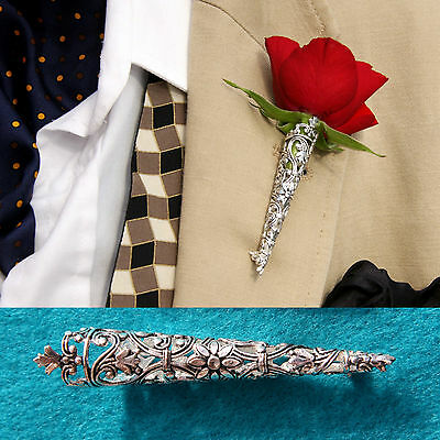 Silver Plated Large Wedding/Prom Buttonhole Flower Vase*Corsage*Boutonniere