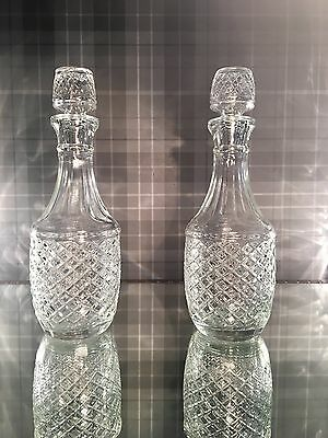 Pair Of Vintage Antique Glass Crystal Decanter