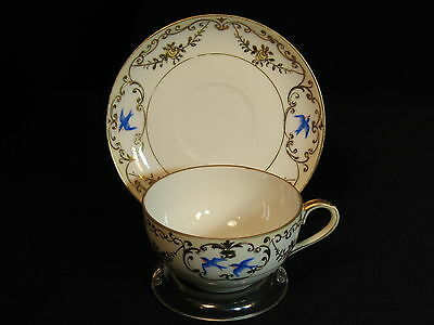 Vintage Nippon Bluebird Pattern Teacup and Saucer Tea Cup Japan Hand Painted