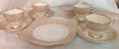 Art Deco Plant Tuscan China Teacups & Cake Plate/ Cream & Gold with Orange Dots
