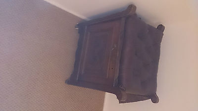 Antique mahogany and leather top piano stool